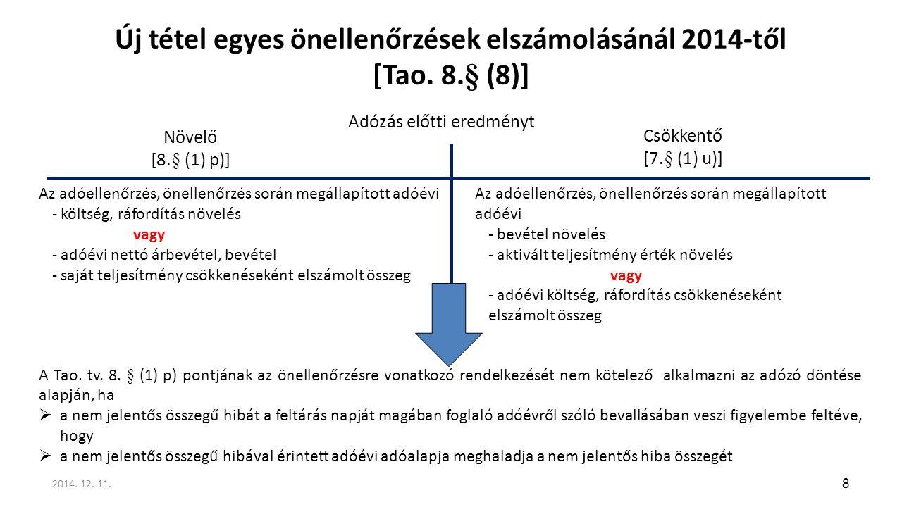 Új tétel egyes önellenőrzések elszámolásánál 2014-től [Tao. 8.§ (8)]